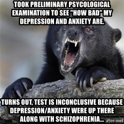 """Insane Confession Bear - Took preliminary psycological examination to see """"how bad"""" my depression and anxiety are. Turns out, test is inconclusive because depression/anxiety were up there along with Schizophrenia..."""