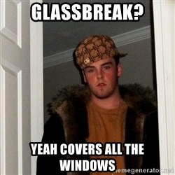 Scumbag Steve - GLASSBreak? Yeah covers all the WINDOWS