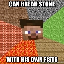 Minecraft Guy - can break stone with his own fists