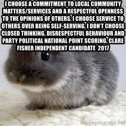 ADHD Bunny - I choose a commitment to local community matters/services and a respectful openness to the opinions of others. I choose service to others over being self-serving. I don't choose closed thinking, disrespectful behaviour and party political national point scoring. Clare Fisher independent Candidate  2017
