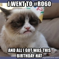 Birthday Grumpy Cat - I went to #ro60 And all i got was this birthday hat