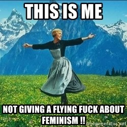 Look at all the things - This is me Not giving a flying fuck about feminism !!