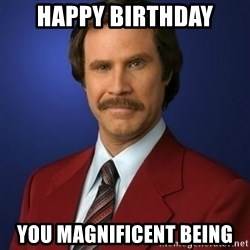 Anchorman Birthday - Happy birthday you Magnificent being