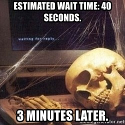 Waiting Skeleton 95 - ESTIMATED WAIT TIME: 40 SECONDS. 3 minutes later.