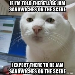 Serious Cat - if i'm told there'll be jam sandwiches on the scene I expect there to be jam sandwiches on the scene
