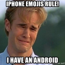 Crying Man - IPhone emojis rule! I have an android
