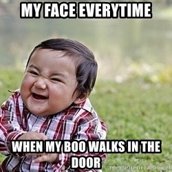 Evil Asian Baby - My face everytime When my boo walks in the door