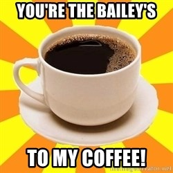 Cup of coffee - You're the Bailey's to my coffee!