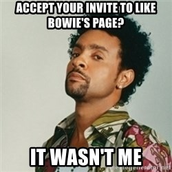 Shaggy. It wasn't me - Accept your invite to like bowiE's page? It wasn't me
