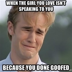 Dawson's Creek - when the girl you love isn't speaking to you because you done goofed