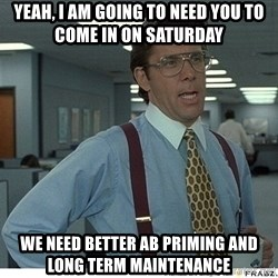 That would be great - Yeah, I am going to need you to come in on saturday we need better AB priming and long term maintenance