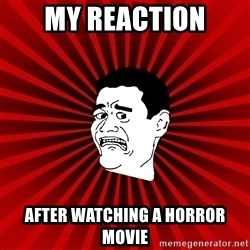 Afraid Yao Ming trollface - My reaction After watching a horror movie