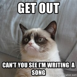Grumpy Cat  - Get out Can't you see I'm writing  a song
