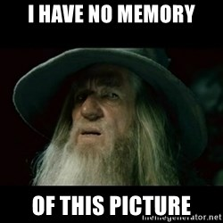 no memory gandalf - I have no memory of this picture