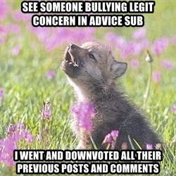 Baby Insanity Wolf - See someone bullying legit concern in advice sub I went and downvoted all their previous posts and comments