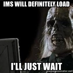 OP will surely deliver skeleton - IMS will definitely load I'll just wait