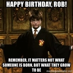 Harry Potter Come At Me Bro - happy birthday, rob! Remember, It matters not what someone is born, but what they grow to be