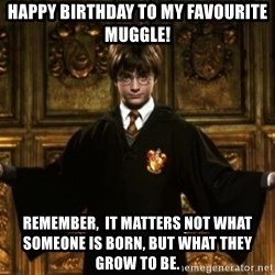 Harry Potter Come At Me Bro - happy birthday to my favourite muggle! remember,  It matters not what someone is born, but what they grow to be.