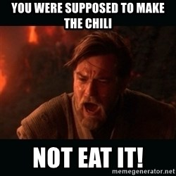 """Obi Wan Kenobi """"You were my brother!"""" - You were supposed to make the chili not eat it!"""