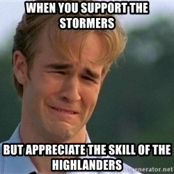 Crying Man - When you support the stormers But appreciate the Skill of the Highlanders