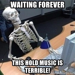 skeleton waiting still again - waiting forever this hold music is terrible!