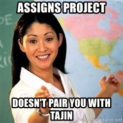 Terrible  Teacher - AssIgns project Doesn't pair you with tajin