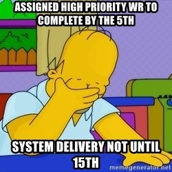 Homer Facepalm - assigned high priority wr to complete by the 5th system delivery not until 15th