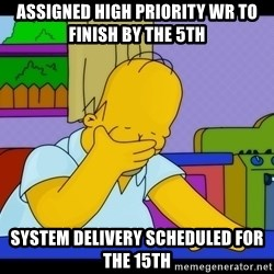 Homer Facepalm - assigned high priority wr to finish by the 5th system delivery scheduled for the 15th