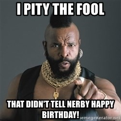 Mr T Fool - I PITY THE FOOL THAT DIDN'T TELL NERBY HAPPY BIRTHDAY!