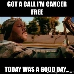Ice Cube- Today was a Good day - Got a call I'm cancer free Today was a good day...