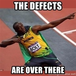 USAIN BOLT POINTING - the defects are over there