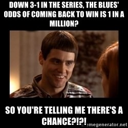 Lloyd-So you're saying there's a chance! - down 3-1 in the series, the blues' odds of coming back to win is 1 in a million? So you're telling me there's a chance?!?!