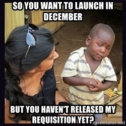 Skeptical third-world kid - So you want to launch in december But you haven't released my requisition yet?