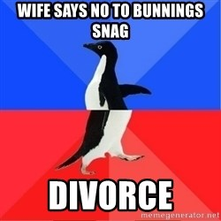 Socially Awkward to Awesome Penguin - Wife says no to bunnings snag Divorce