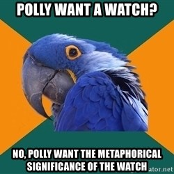 Paranoid Parrot - Polly want a watch?  no, polly want the metaphorical significance of the watch