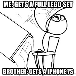 Desk Flip Rage Guy - me: Gets a full lego set brother: gets a iphone 7s