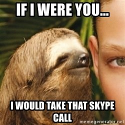 Whispering sloth - If i were you... I would take that skypE call