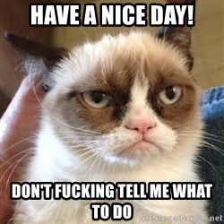 Grumpy Cat 2 - Have a nice day! Don't FUCKIng tell me what to do