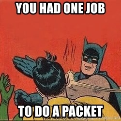 batman slap robin - you had one job To do a packet