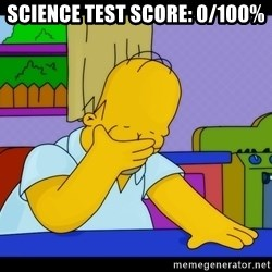 Homer Facepalm - science test score: 0/100%