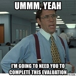 That would be great - Ummm, Yeah I'm going to need you to complete this evaluation