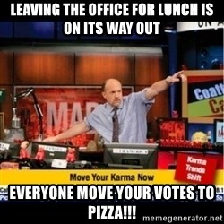 Mad Karma With Jim Cramer - Leaving the office for lunch is on its way out Everyone move your votes to pizza!!!