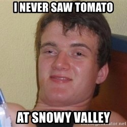 high/drunk guy - I neveR saw TomAto At snowy Valley