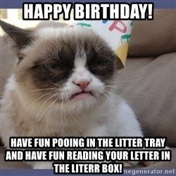 Birthday Grumpy Cat - Happy BirthDay! Have fun pooing in the litter tray and have fun reading your letter in the literr box!