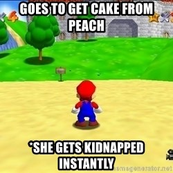 Mario looking at castle - GOes to get cake from peach *she gets kidnapped instantly
