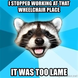 Lame Pun Coon - i stopped working at that wheelchair place it was too lame