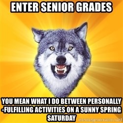 Courage Wolf - Enter senior grades You mean what i do between personally-fulfilling activities on a sunny spring saturday