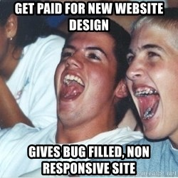 Immature high school kids - gET PAID FOR NEW wEBSITE dESIGN gIVES BUG FILLED, NON RESPONSIVE SITE