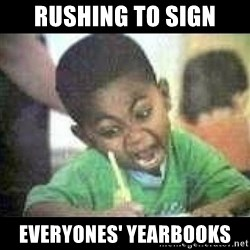 Black kid coloring - Rushing to sign everyones' yearbooks