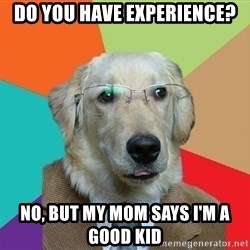 Business Dog - do you have experience? No, but my mom says i'm a good kid